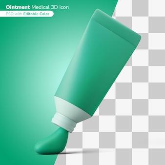 Geneeskunde plakken zalf buis 3d illustratie 3d pictogram bewerkbare kleur geïsoleerd