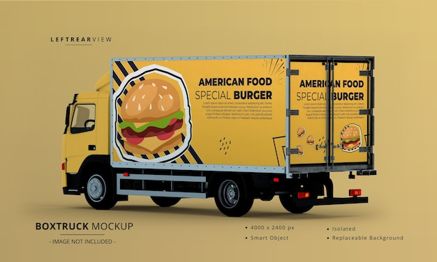 Generieke big box truck car mockup links achteraanzicht