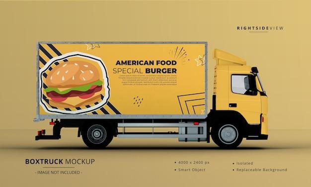 Generieke big box truck car mockup rechter zijaanzicht