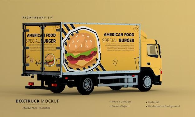 Generieke big box truck car mockup rechts achteraanzicht