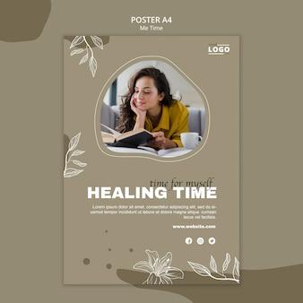 Genezing tijd poster sjabloon
