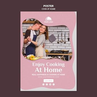 Geniet van het koken thuis poster sjabloon