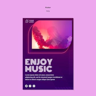 Geniet van muziek poster sjabloon