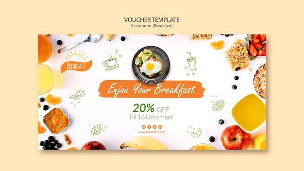Geniet van uw ontbijtvouchersjabloon