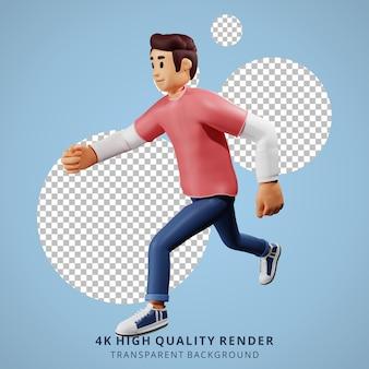 Gente joven corriendo ilustración de personaje 3d