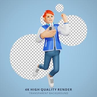 Gente de pelo rojo feliz saltando ilustración de personaje 3d