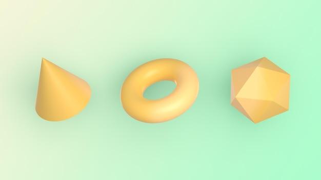 Geometrische figuren in 3d-rendering