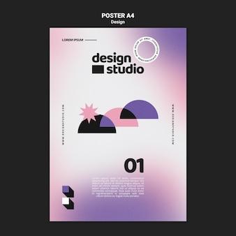 Geometrische verticale poster sjabloon voor ontwerpstudio