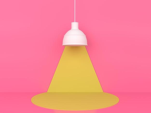 Geometrische vorm gele podiumweergave in roze pastel achtergrond 3d-rendering