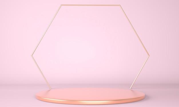 Geometrische vormen podium in 3d-rendering