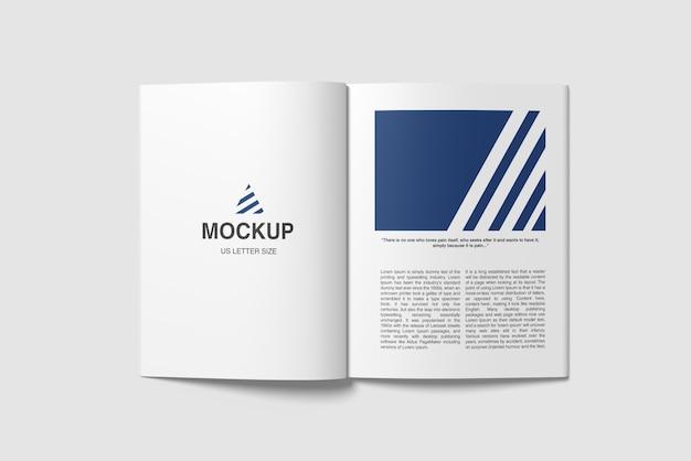 Geopend amerikaans letterformaat tijdschriftmodel tophoekweergave