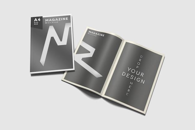 Geopend en bedek a4-tijdschriftmodel in hoge hoekweergave