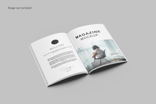 Geopend perspectief tijdschrift mockup ontwerp geïsoleerd