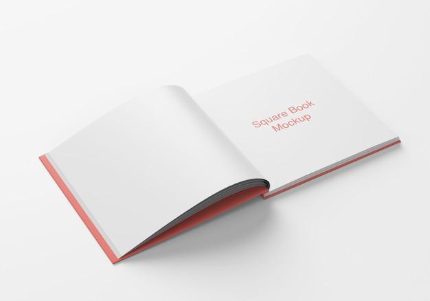 Geopend vierkant boek of tijdschriftmodel