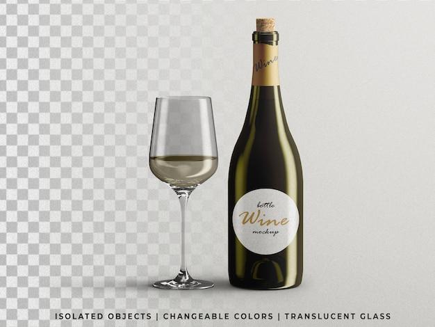 Geopend wijnflesverpakkingsmodel met geïsoleerd glazen vooraanzicht