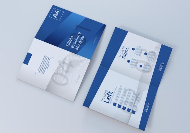 Geopende a4 bifold brochure leaflet mockup