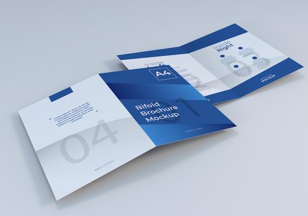 Geopende a4 tweevoudige brochure mockup sjabloon