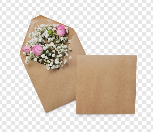 Geopende envelop met bloemenregelingen en plaats voor tekst, bovenaanzicht. feestelijk begroetingsconcept