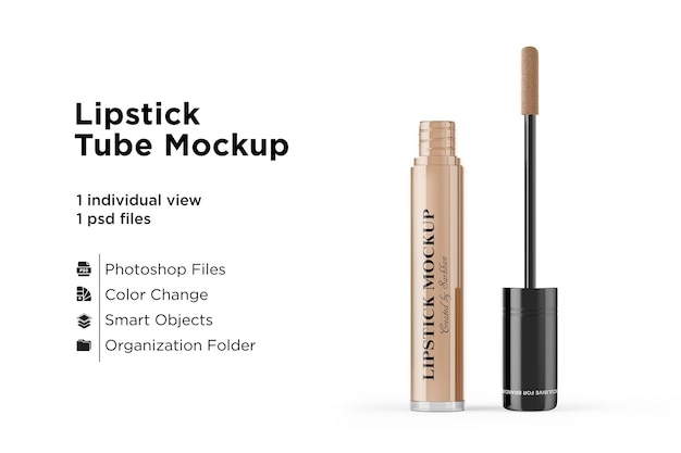 Geopende lipstick tube mockup
