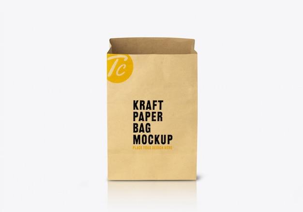 Gerecycled bruin papieren zakmodel voor uw ontwerp