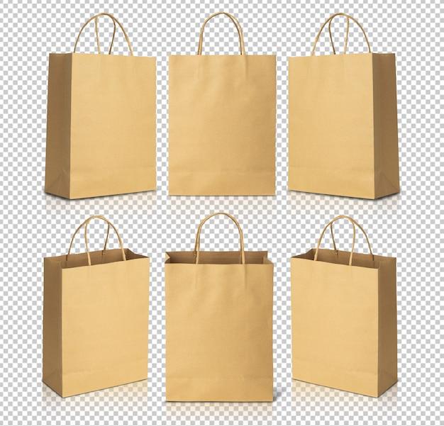Gerecycleerde bruine papieren boodschappentassen mockup sjabloon voor uw ontwerp