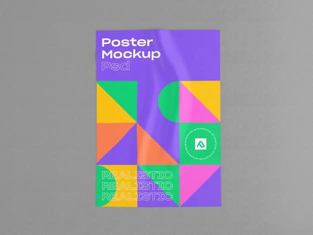Gerimpelde poster met gelijmd mockup Premium Psd