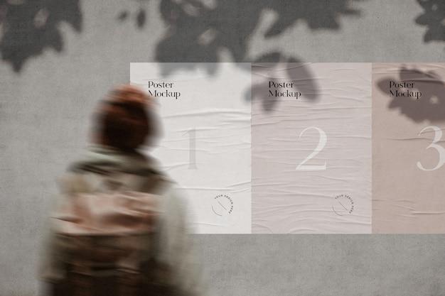 Gerimpelde poster mockup met boomschaduw overlay Premium Psd