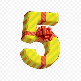 Geschenkdoos alfabet aanwezig nummer 5 geïsoleerde 3d render