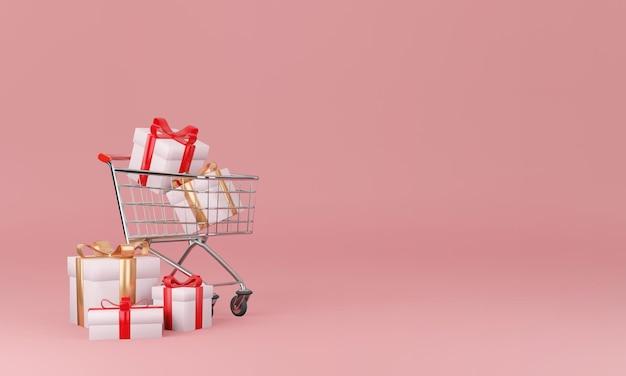 Geschenkdoos en hart met minimaal ontwerpconcept
