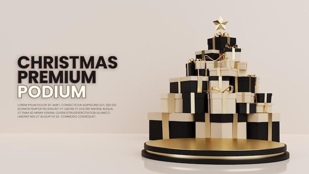 Geschenkdoos kerstboom luxe podium