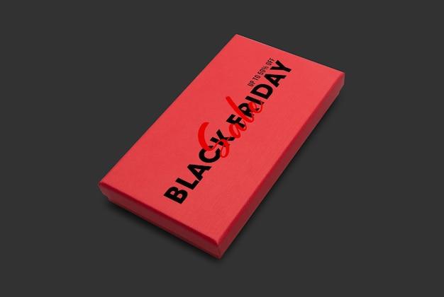 Geschenkdoos met mockup voor zwarte vrijdagcampagne