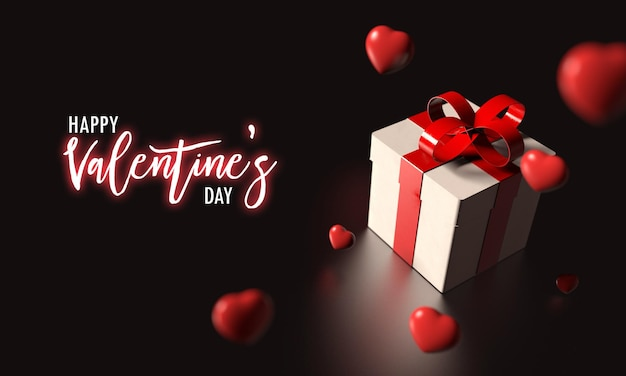 Geschenkdoos met rood lint en veel regenachtig hart vallen uit de lucht 3d-rendering