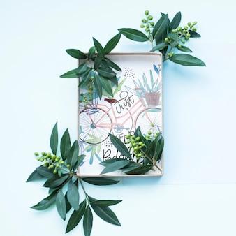 Geschenkdoos mockup met florale decoratie