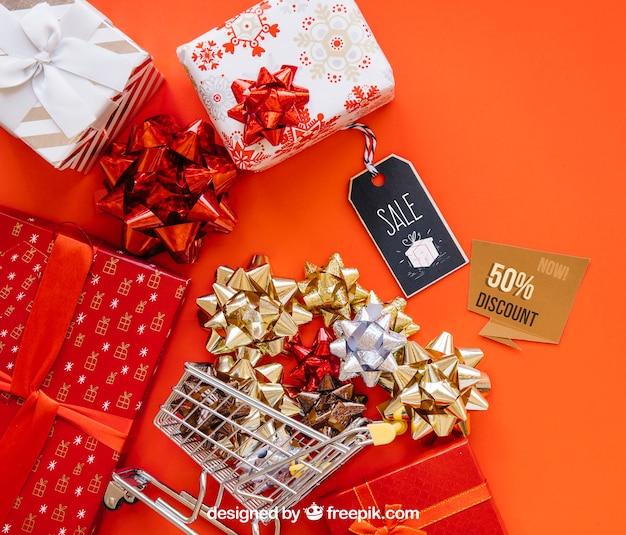 Geschenkdoosjes mockup met christmtas-ontwerp