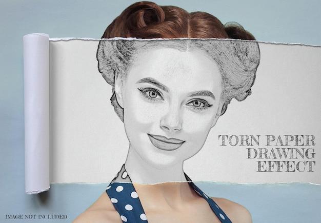 Gescheurd opgerold papier met potloodtekening foto-effect mockup