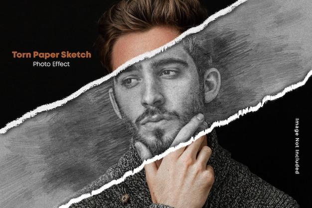 Gescheurd papier en schets foto-effect