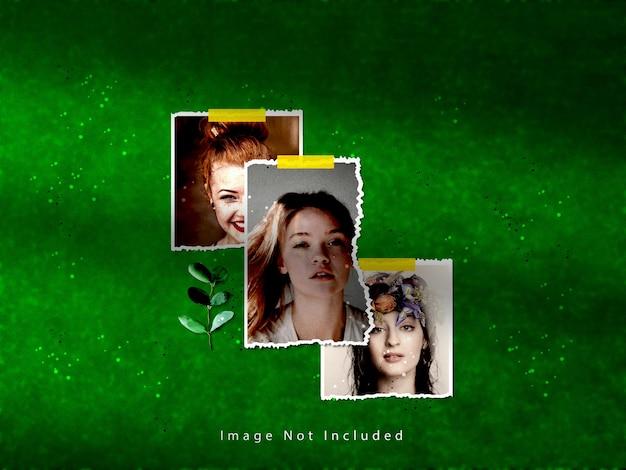 Gescheurd papier fotolijst set mockup met schaduw overlay effect