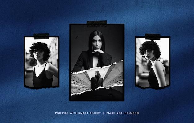 Gescheurd portret fotopapier frame set mockup