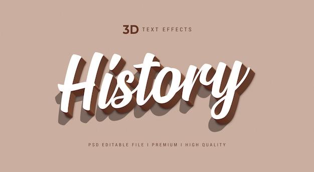 Geschiedenis 3d tekststijleffect sjabloon