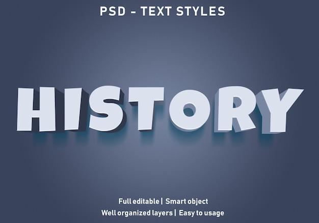 Geschiedenis teksteffect stijl