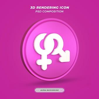 Geslachtspictogram in 3d-rendering