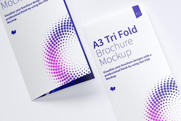 Gesloten driebladige brochure mockup