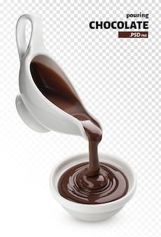 Gesmolten chocolade geïsoleerd gieten