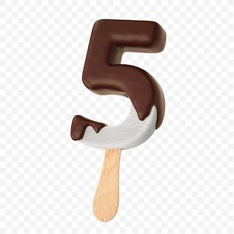 Gesmolten vanille-ijs met donkere melkchocolade alfabet nummer 5 geïsoleerd ontwerp