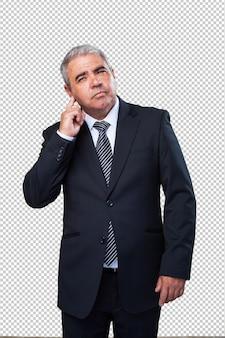 Gesto d'ascolto dell'uomo d'affari