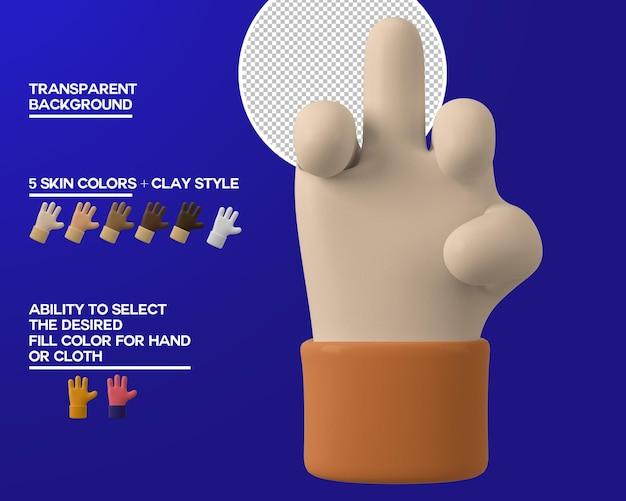 Gesto del dedo medio de la mano de dibujos animados