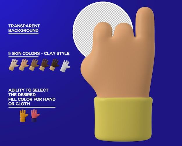 Gesto de dedo meñique de mano de dibujos animados