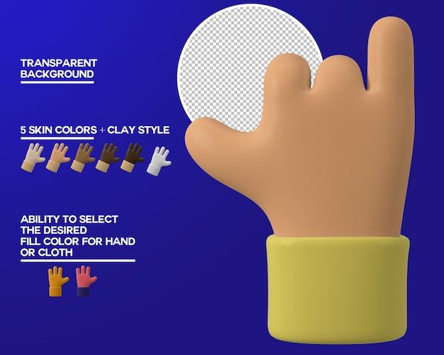 Gesto de dedo meñique y pulgar de mano de dibujos animados