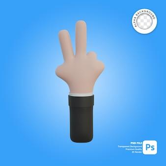 Gesto de la mano 3d con dos dedos delante