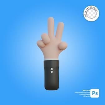 Gesto de la mano 3d con dos dedos en la espalda